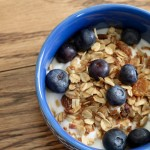 Image of granola with yogurt and blueberries.